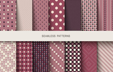 Seamless patterns polka dots set. Vector illustration