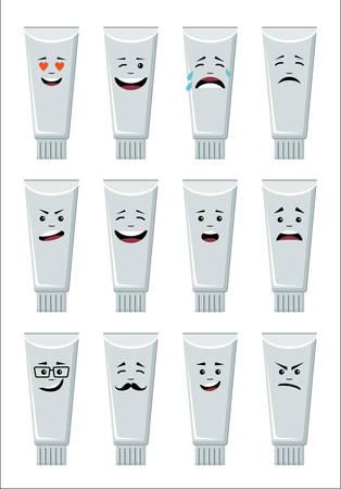 Set of tubes icons, smiling, emoji. Vector illustration.