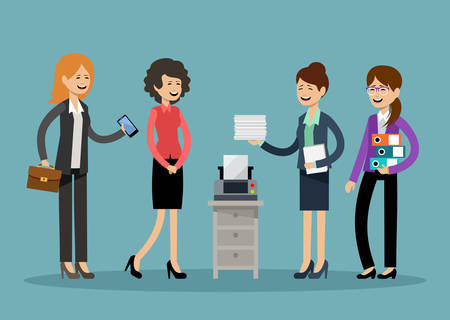 Smiling business people, office workers. Vector illustration Illustration