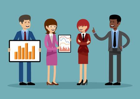 Glimlachende zakenmensen, kantoormedewerkers. Vector illustratie Stockfoto - 91393894