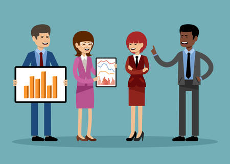 Smiling business people, office workers. Vector illustration Stock Illustratie