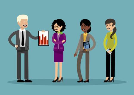 Glimlachende zakenmensen, kantoormedewerkers. Vector illustratie Stockfoto - 91392669