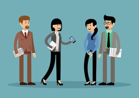 Glimlachende zakenmensen, kantoormedewerkers. Vector illustratie Stockfoto - 91392667