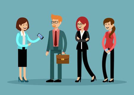 Glimlachende zakenmensen, kantoormedewerkers. Vector illustratie Stockfoto - 91392824