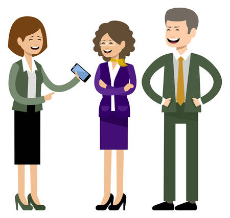 Glimlachende zakenmensen, kantoormedewerkers. Vector illustratie Stockfoto - 91392867