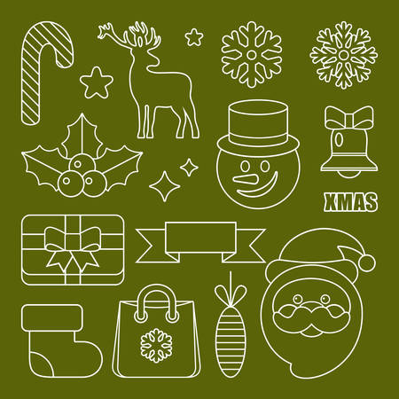 Outline Christmas and New Years icons. Vector illustration Stock Illustratie