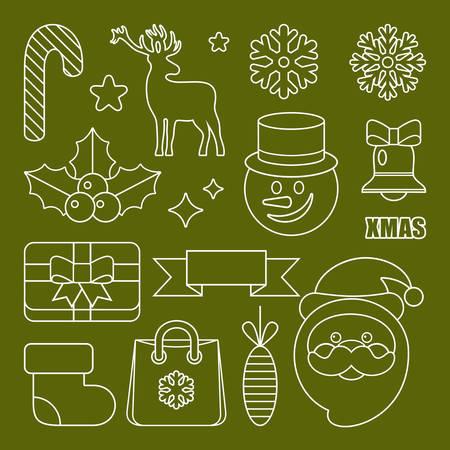 Overzicht pictogrammen Kerstmis en Nieuwjaar. Vector illustratie Stockfoto - 91392826