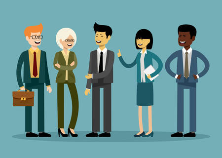 International business team, office workers. Vector illustration