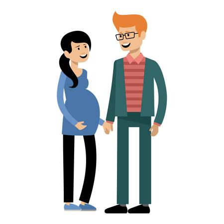 Echtpaar verwacht het kind, de man en de zwangere vrouw. Vector illustratie Stockfoto - 91392671
