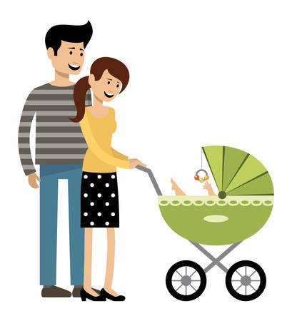 Jong echtpaar met een rijtuig. Vector illustratie Stockfoto - 91394104