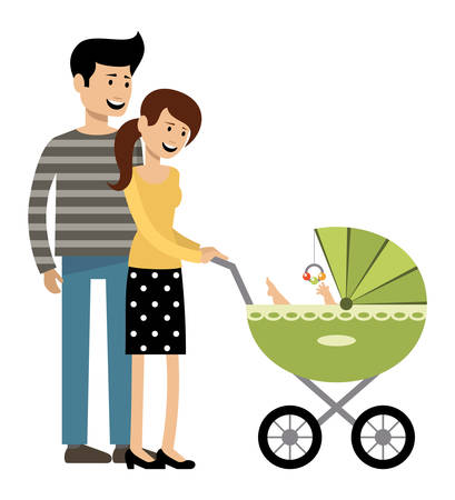 Young married couple with a carriage. Vector illustration
