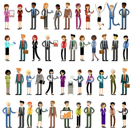 Set of business people, office workers. Vector illustration Stock Illustratie