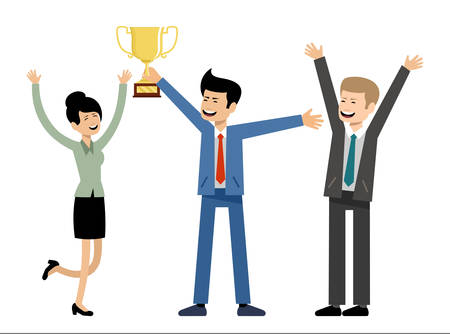 Commercieel team dat gouden koptrofee houdt. Succes en overwinning. Vectorillustratie