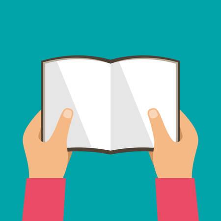 Hands hold books. Reading, education. Vector illustration