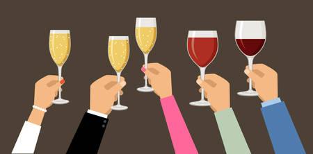 Handen met champagne en wijnglazen, vieren. Vector illustratie Stock Illustratie