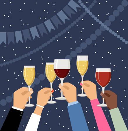 Hands holding champagne and wine glasses, celebrating. Vector illustration Stock Illustratie