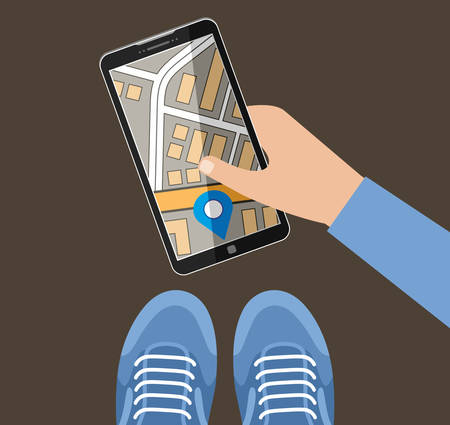 Hand holds the smartphone with the card. Navigation. Vector illustration