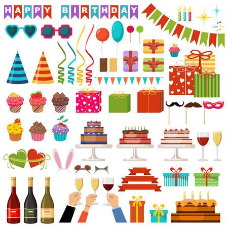 Set of happy birthday party accessories. Vector illustration Stock Illustratie