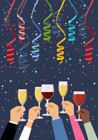 Handen met champagne en wijnglazen, vieren. Vector illustratie Stockfoto - 91393898