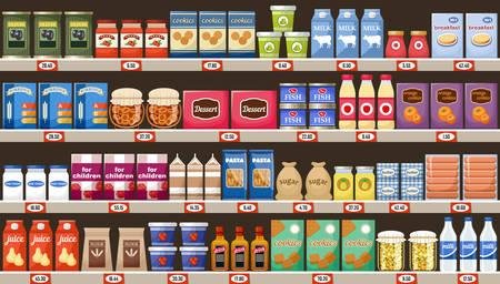 Supermarket, półki z produktami i napojami. Wektor