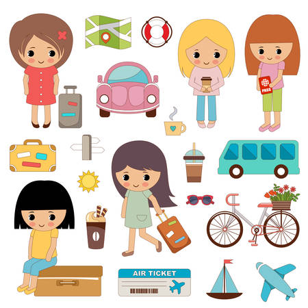 Set of cute girls on a travel. Vector illustration