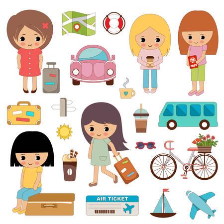 Set van schattige meisjes op reis. Vector illustratie Stockfoto - 91394401