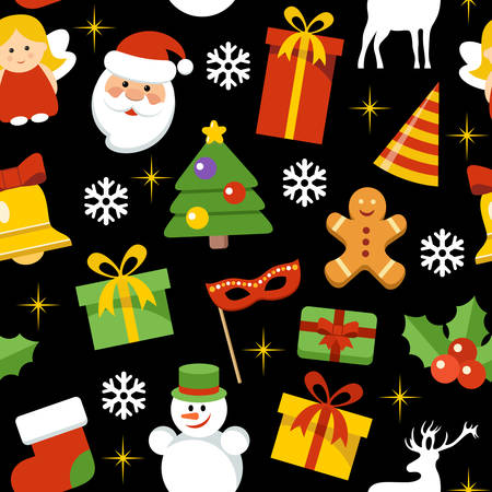 Seamless vector pattern with New Years and Christmas elements. Vector illustration Stock Illustratie