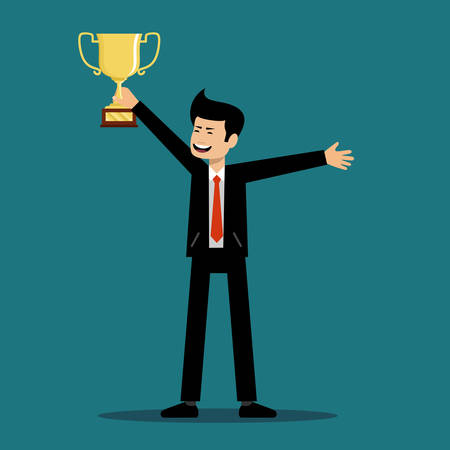 Successful man holds a cup of the winner. Vector illustration Stock Illustratie