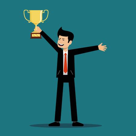 Succesvolle man houdt een beker van de winnaar. Vector illustratie Stockfoto - 91478057