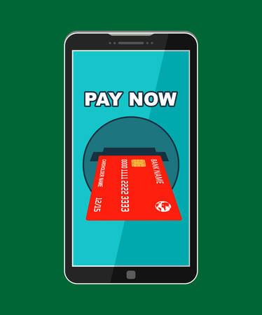 Button pay now on the smartphone screen. Vector illustration