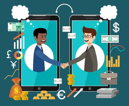 Internet working concept. Online business. Partnership. Vector illustration