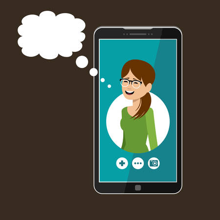 Phone with open window of a messenger. Social network. Online communication. Vector illustration
