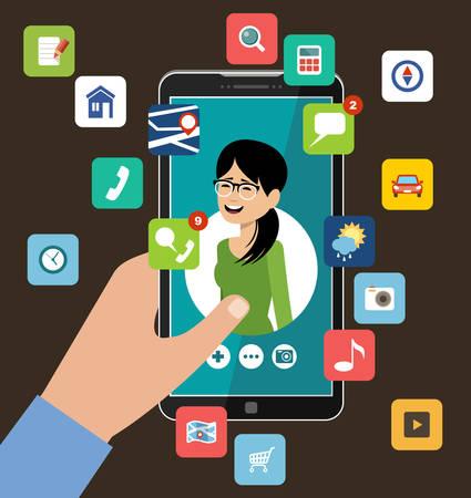 Hand met telefoon met het profiel van de vrouw. Online dating en sociaal netwerken concept. Virtuele liefde. Vector illustratie Stockfoto - 91478011