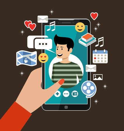 Female hand holds phones with a mens profile. Online dating and social networking concept. Virtual love. Vector illustration Stock Illustratie