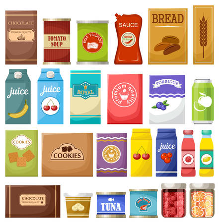 Set of different products vector illustration