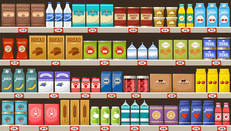 Supermarket products vector illustration