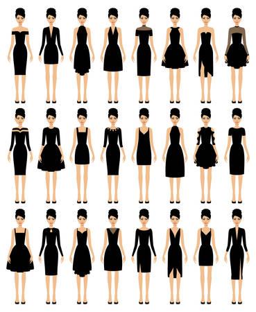 Set of black dresses vector illustration