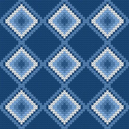 Blue knitted pattern vector illustration Stock Illustratie