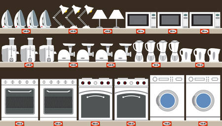 Household appliances and kitchen equipment vector illustration