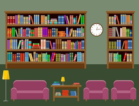 Bibliotheekkamerbinnenland met boeken en banken. Stockfoto - 92157853
