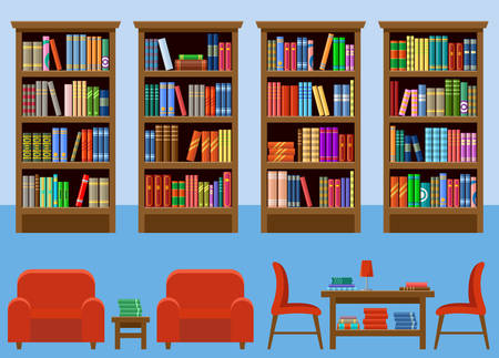 Library room interior with books and couches. Stock Illustratie