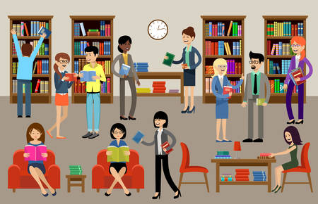 Library room interior with people, books and couches. Stock Illustratie