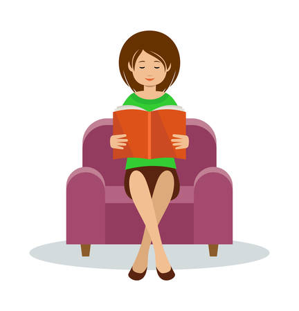 Young woman reading and sitting in a couch vector illustration