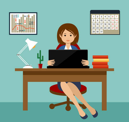 Business woman working at a desktop. Office. Vector illustration