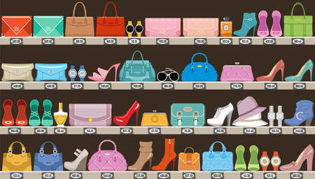 Fashion store. Boutique of accessories, bags and footwear. Vector illustration Stock Illustratie