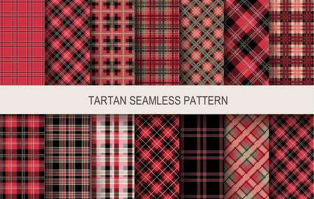 Tartan seamless patterns in red and black colors. Vector illustration