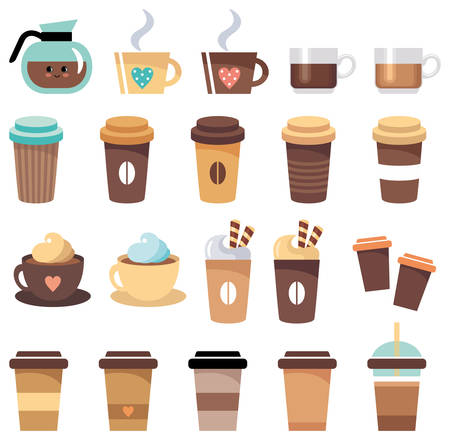 Set of cups and glasses with coffee. Vector illustration Stock Illustratie