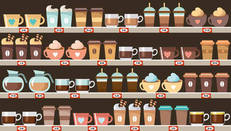Supermarket, shelves with coffee. Vector illustration