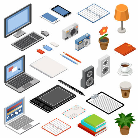Set of isometric icons. Equipment and office accessories. Vector illustration Stockfoto - 101011047