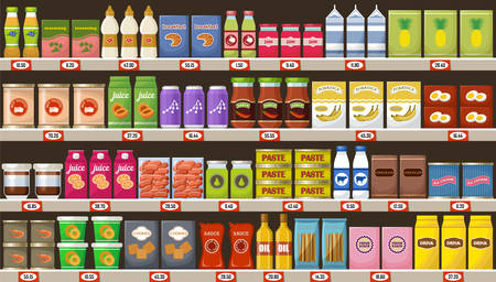 Supermarket, shelves with products and drinks. Vector illustration Stockfoto - 101011049